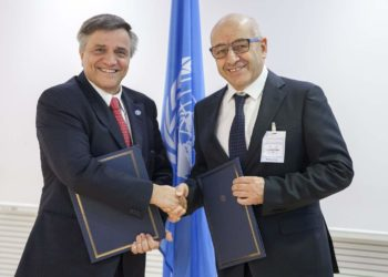 06 March 2017, Rome, Italy - (Left to righ)  Kostas Stamoulis, Assistant Director-General and Luca Mattioni, Vice-President of Fertitecnica Colfiorito. Signing Ceremony of Memorandum of understandings between FAO and Fertitecnica Colfiorito, FAO headquarters (Espace Gabon).