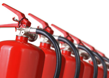 fire extinguishers close up isolated on white background