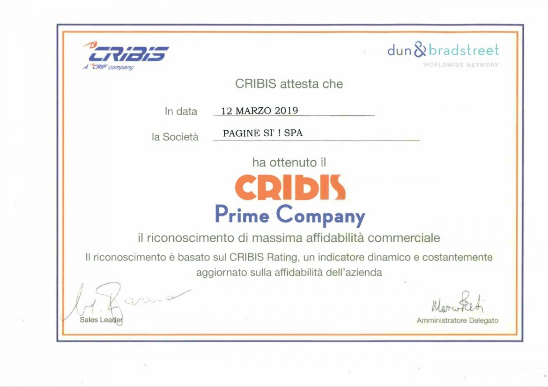 """Pagine Sì! spa: Premio ASGI """"Impresa Etica"""" e Prime Company, il massimo livello di affidabilità assegnato da Cribis, società del Gruppo Crif spa"""