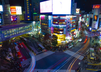 Night time lapse crossing at the neon town high angle wide shot. Shibuya ward Tokyo Japan - 02.14.2019 : It is a center of the city in tokyo. camera : Canon EOS 5D mark4